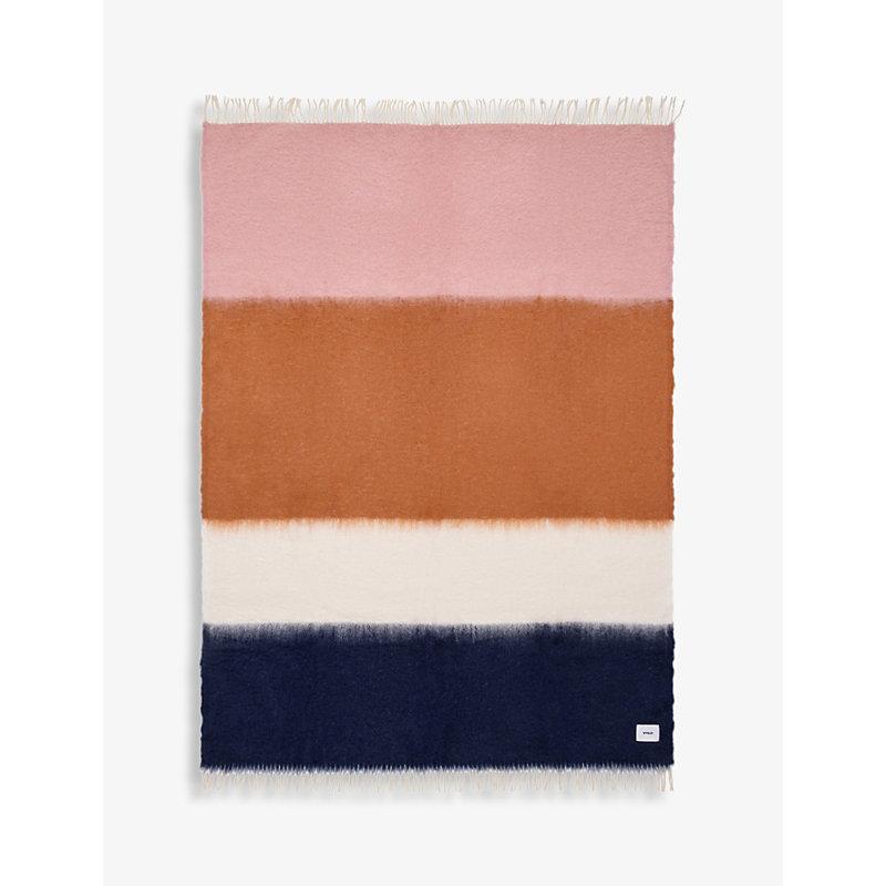 V01 mohair and wool-blend striped blanket 135cm x 200cm