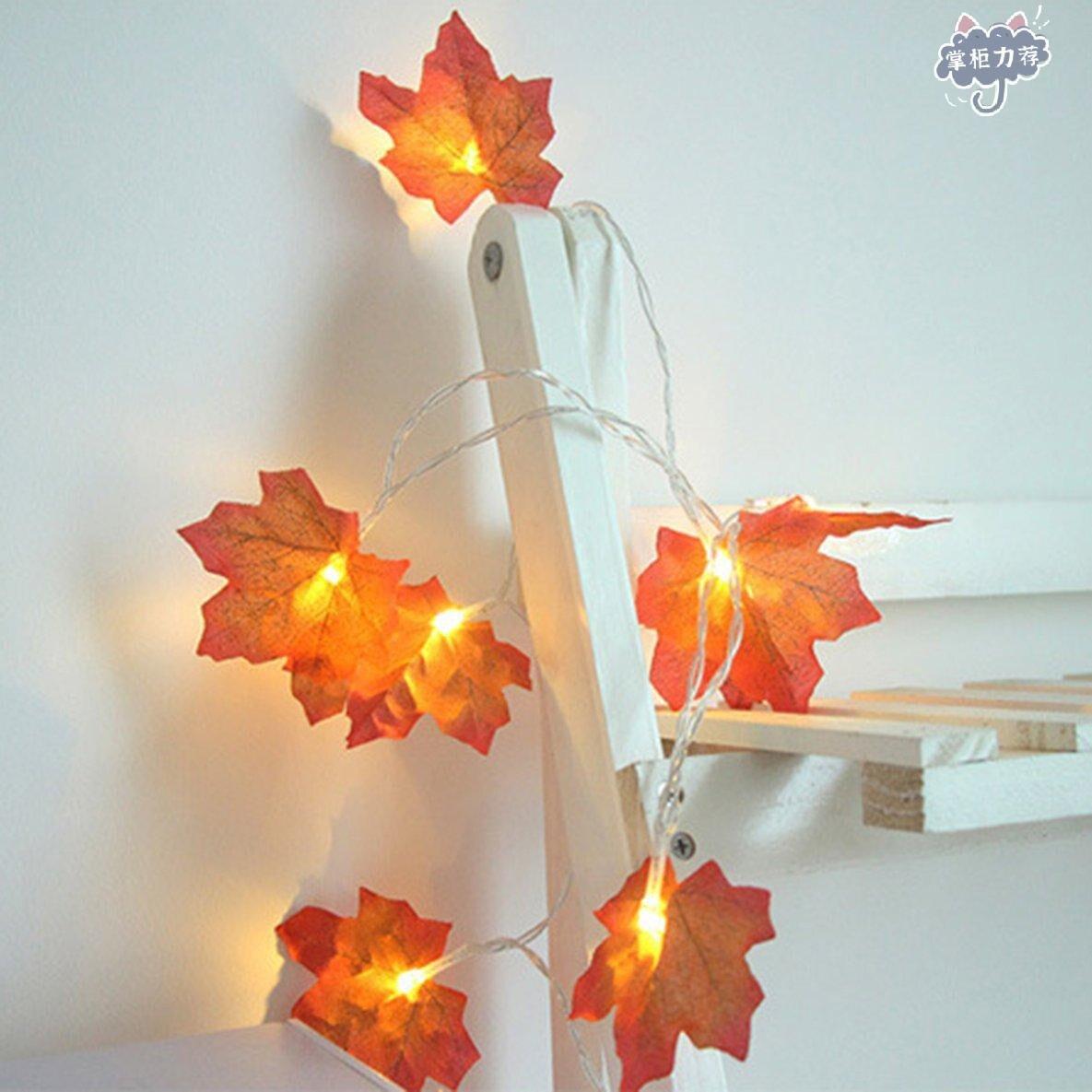 【全館免運】楓葉LED燈串 爆款聖誕節日掛件樹葉楓葉LED燈串庭院派對房間ins裝飾彩燈 創意時尚楓葉掛燈 臥室房間暖色小燈具