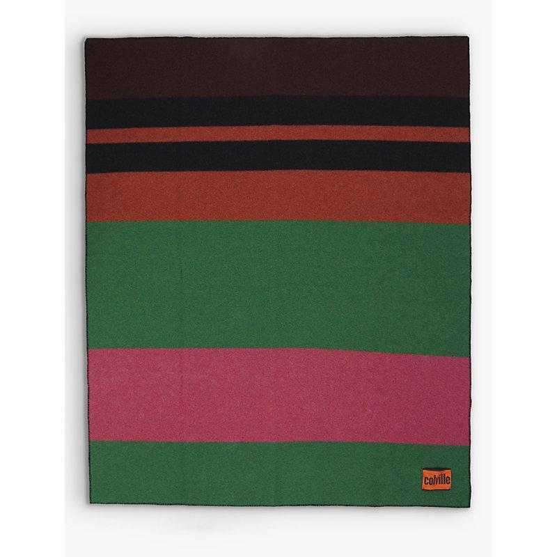 Striped wool-blend blanket 205cm x 145cm