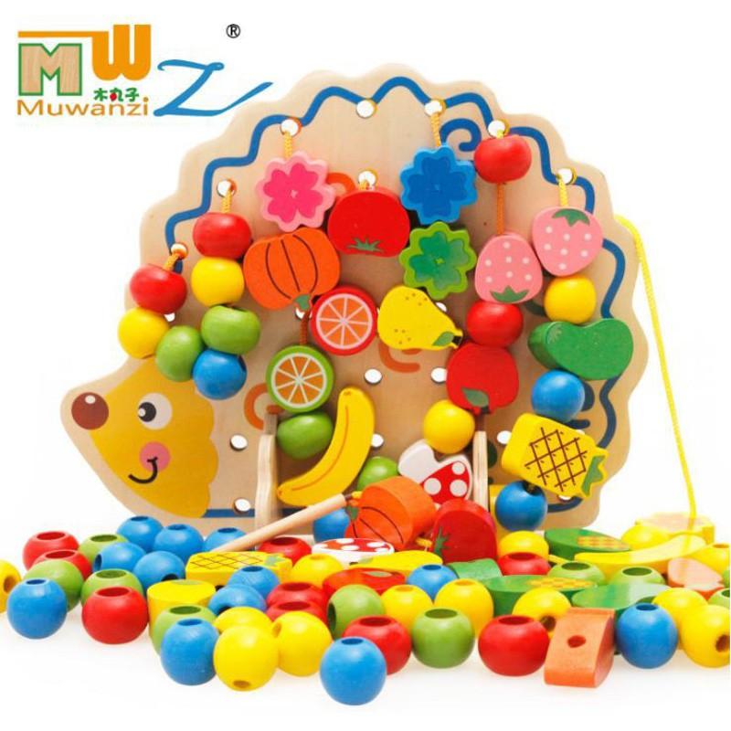 木丸子 刺蝟 串珠 穿線 / 積木 水果串串樂 / 兒童益智早教 木製 木質玩具 【國王皇后】