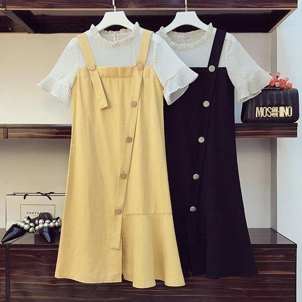 洋裝連身裙裙子L-4XL中大尺碼大碼胖妹妹拼接減齡時尚中長款連衣裙R04.2303 果果輕時尚