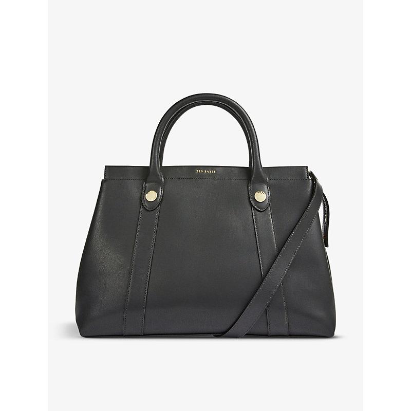 Vincint logo-embossed leather tote bag
