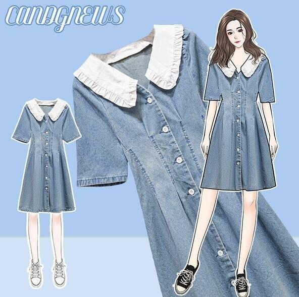 洋裝牛仔裙短袖中大尺碼L-4XL法式設計感小眾假兩件牛仔連身裙4F119-8815. 果果輕時尚