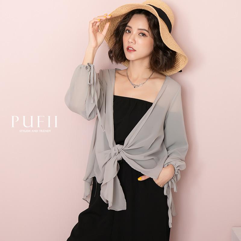 ◆限量現貨◆PUFII-罩衫 袖綁帶透膚雪紡開襟罩衫-0609 現+預 夏【CP18697】