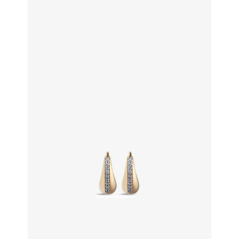 Graduated mini 14ct yellow gold-plated vermeil sterling-silver and white-topaz hoop earrings