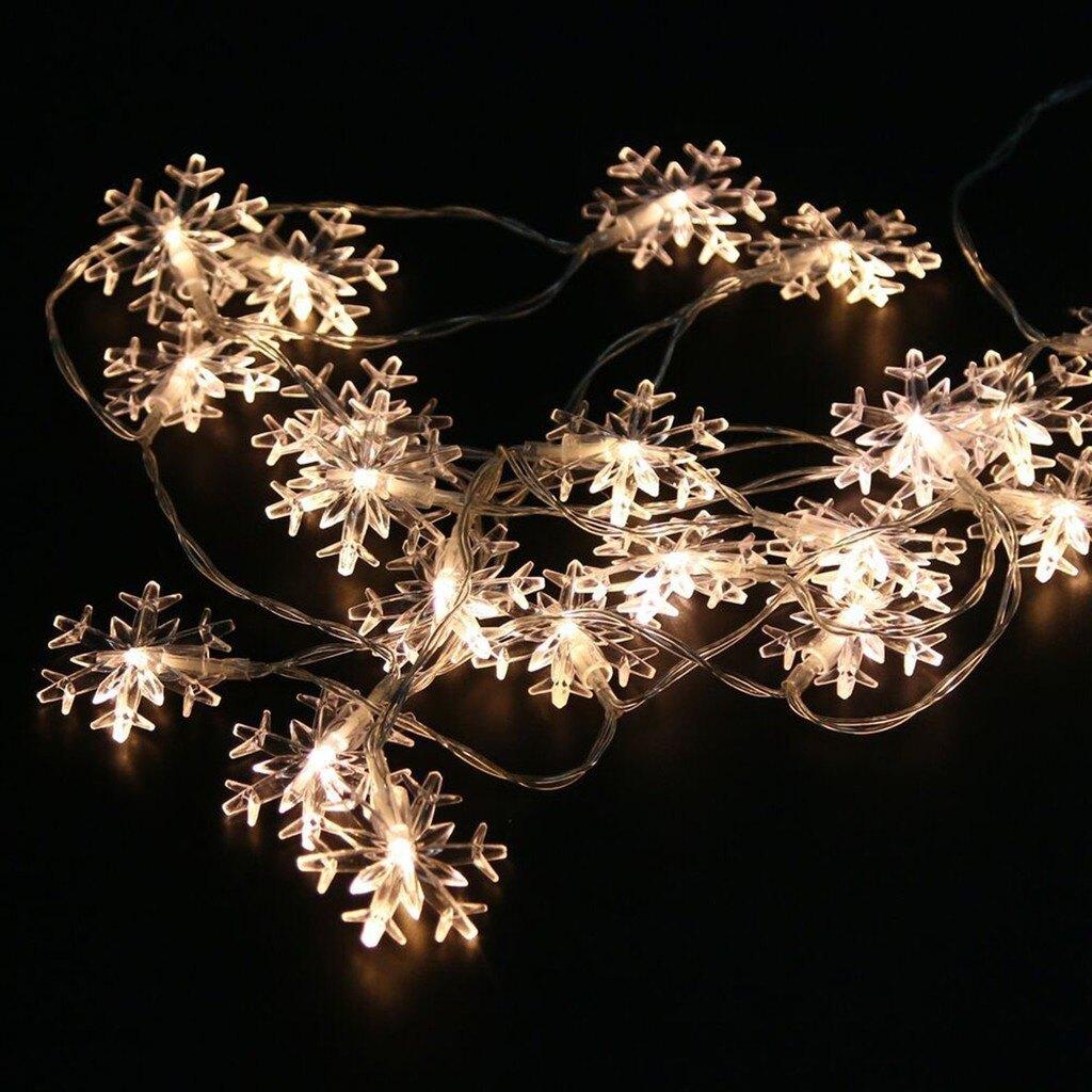【全館免運】20頭新款小雪花電池盒節日燈串聖誕燈LED節日裝飾燈 銅線燈串 LED 氛圍燈 燈泡 串燈 小夜燈 CS燈具