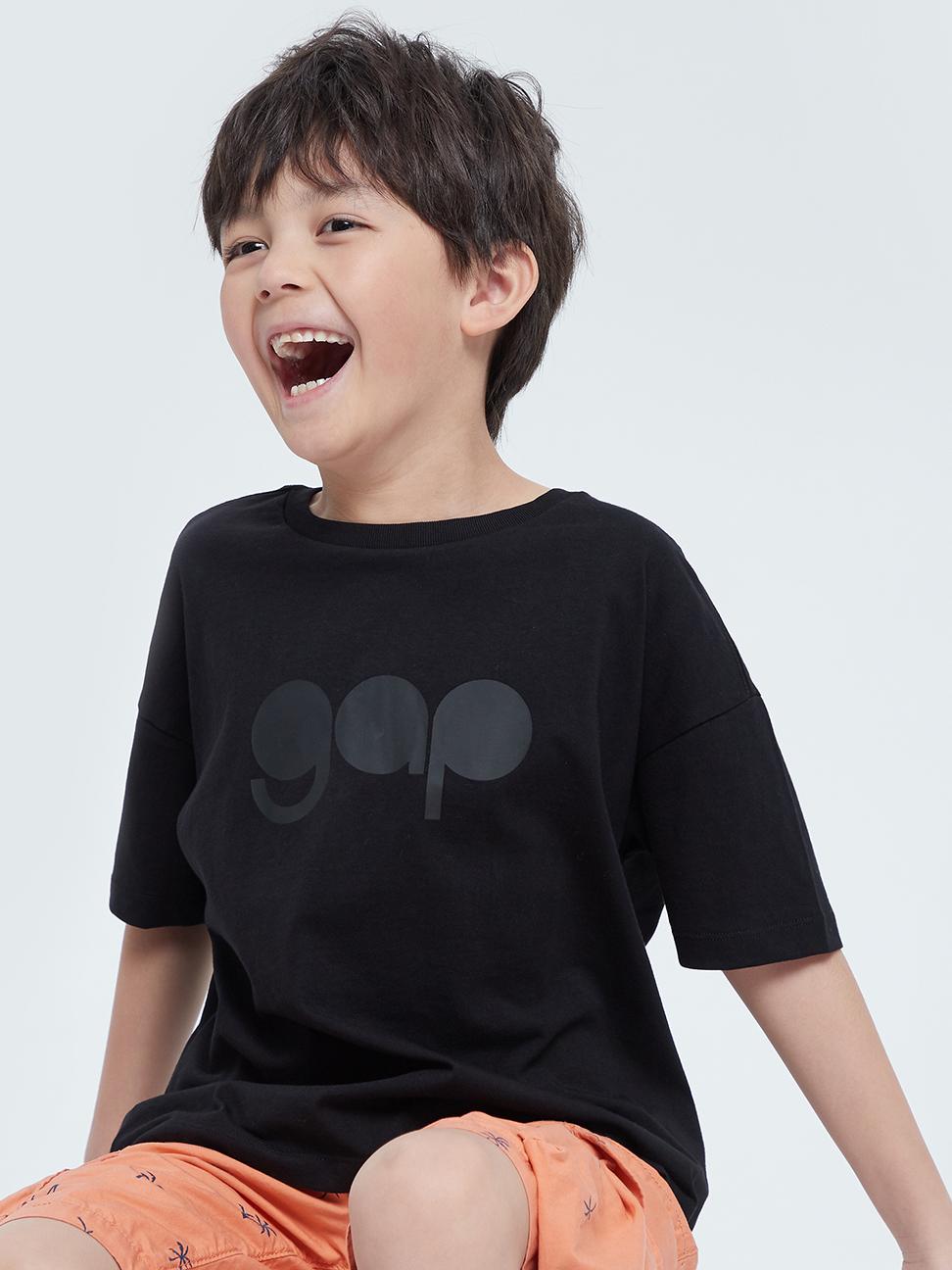 男童 Logo純棉圓領短袖T恤