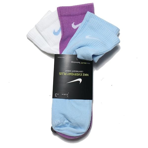NIKE 運動襪 短襪 EVERYDAY PLUS 白藍紫 襪子 三色 三雙一組 (布魯克林) SX6893-907