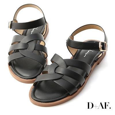D+AF 隨性韓風.圓弧線條軟Q底涼鞋*黑