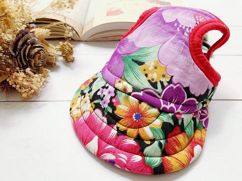 紫色大花 翻帽遮陽帽L