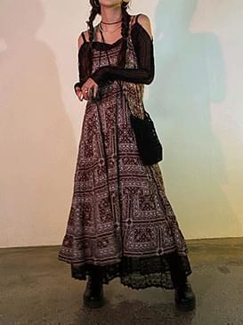 韓國空運 - Bohemian Middle Long Dress 長洋裝