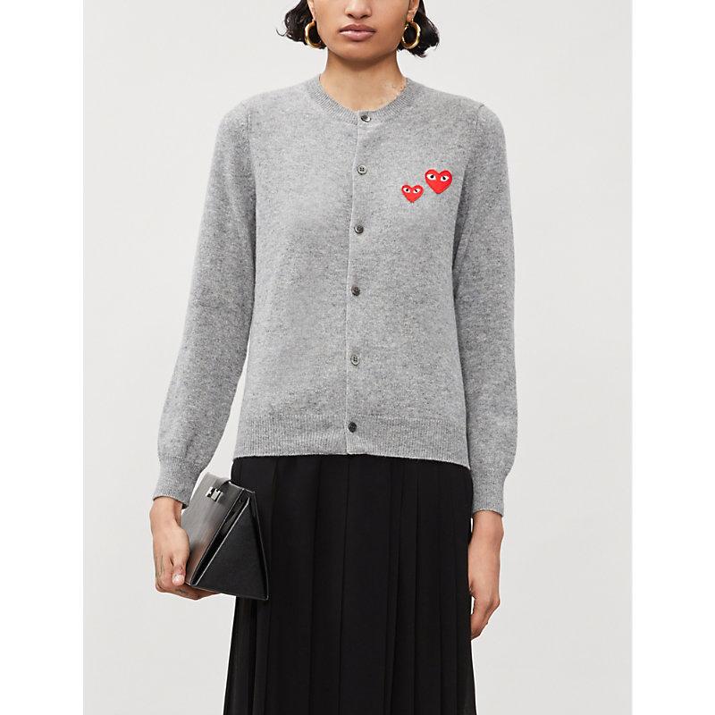 Heart-appliqué wool sweater