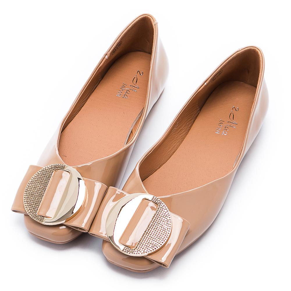 【母親節快樂♥原價$1280】2.Maa 素雅飾扣牛漆皮平底娃娃鞋 - 杏
