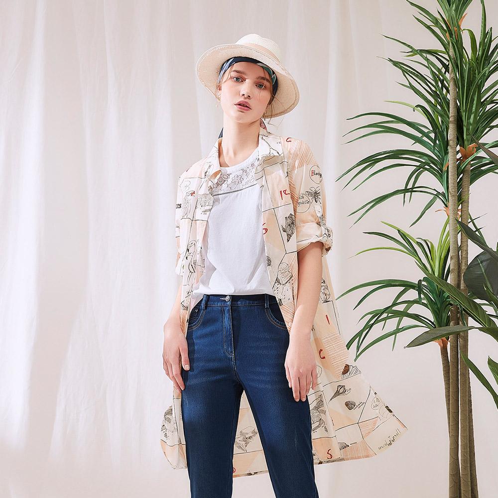 OUWEY歐薇 清新美式塗鴉純棉長版襯衫外套(白)J02427