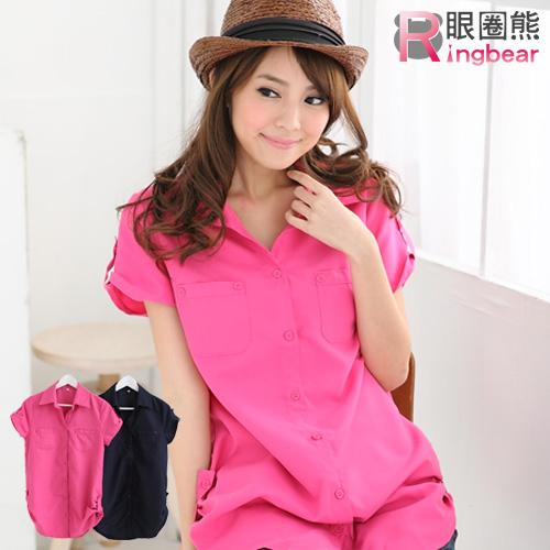 長版襯衫--優雅迷人抓皺雙口袋長版造型襯衫(粉.藍S-2L)-H99眼圈熊中大尺碼