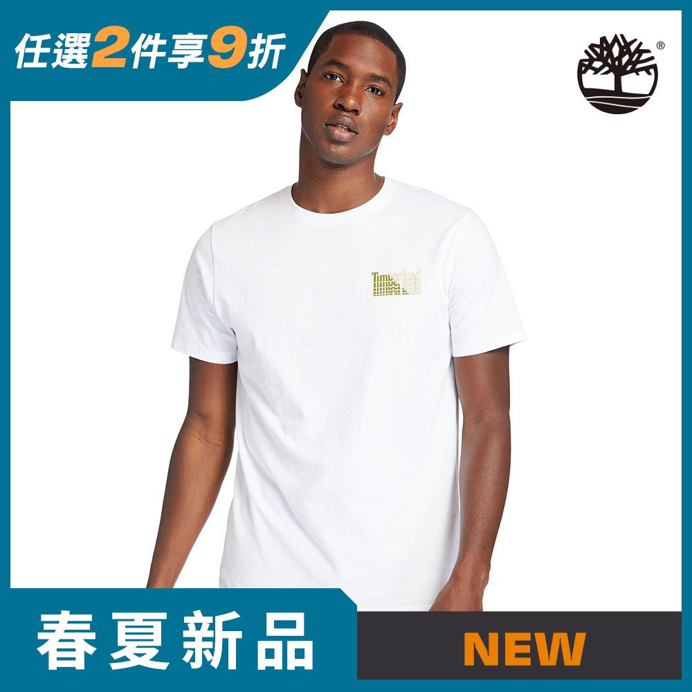 Timberland 男款白色雙面Stacke Logo印花有機棉短袖T恤|A253Q100