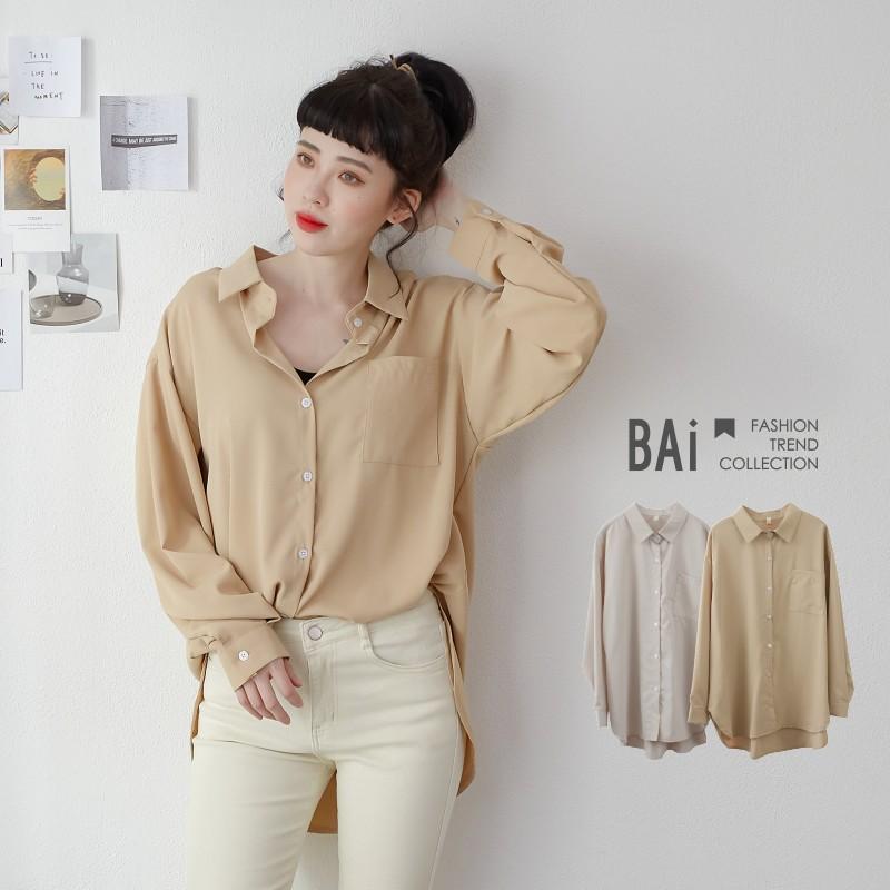 純色單袋澎袖設計寬版襯衫上衣-BAi白媽媽【310160】