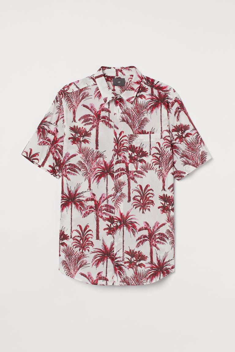 H & M - 標準剪裁棉質襯衫 - 粉紅色