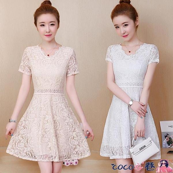 熱賣蕾絲洋裝 短袖裙子女夏季2021新款韓版中長款修身顯瘦小個子遮肚蕾絲連身裙 coco