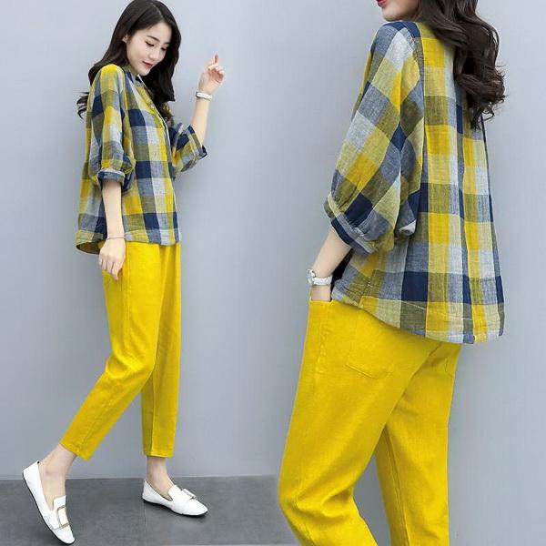 9th street 超值兩件組 渲染件曾格紋上衣+顯瘦長褲(現貨)