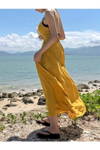韓國空運 - ♥ All-time class!! ♥ Sweety Grapefruit Beach Long Dress 長洋裝