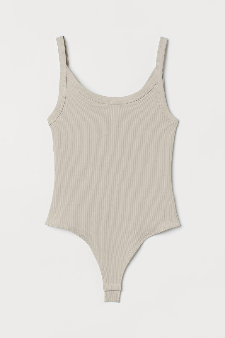 H & M - 羅紋平紋丁字緊身連身衣 - 米黃色
