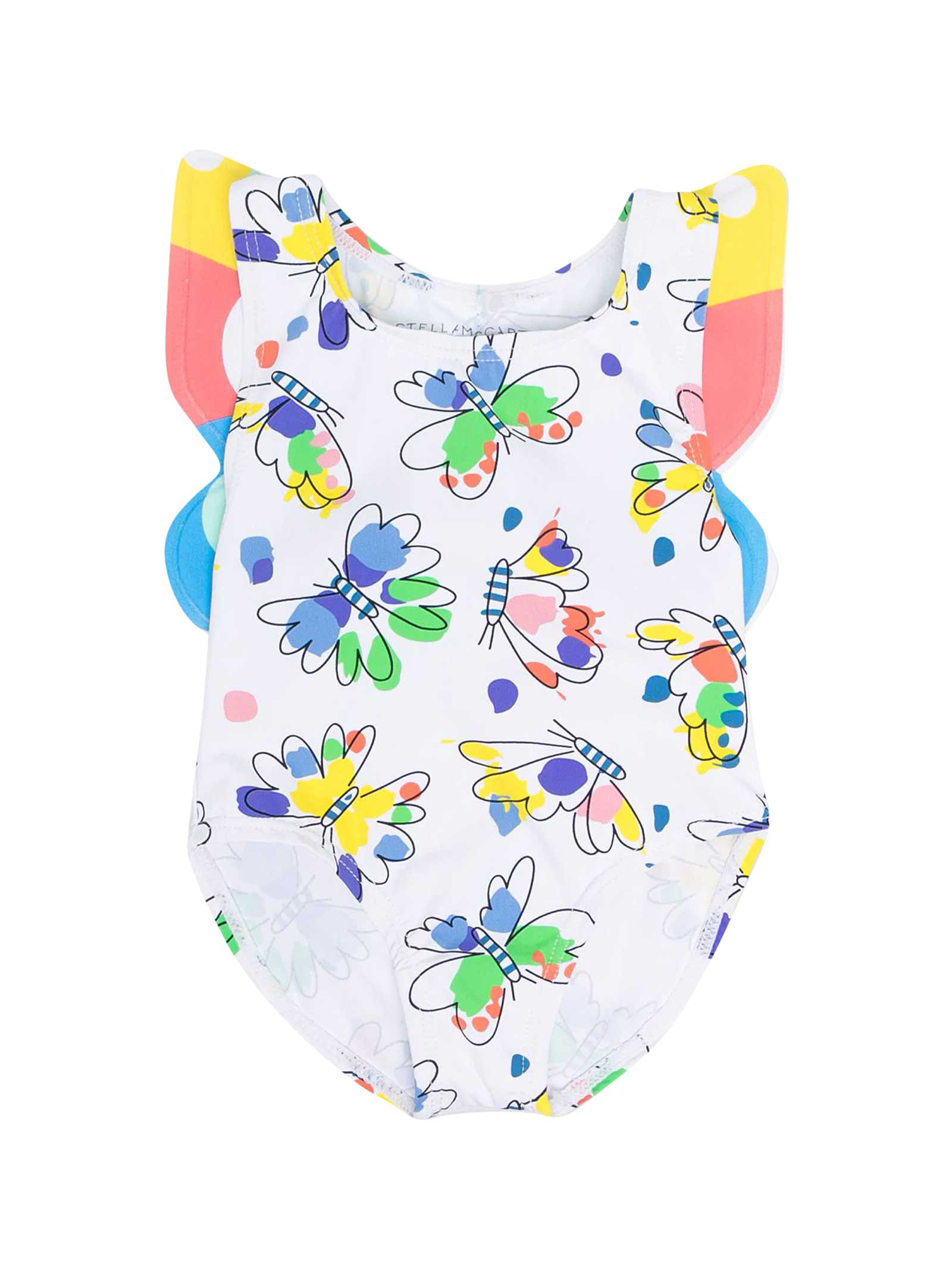 White Swimsuit With Multicolor Print