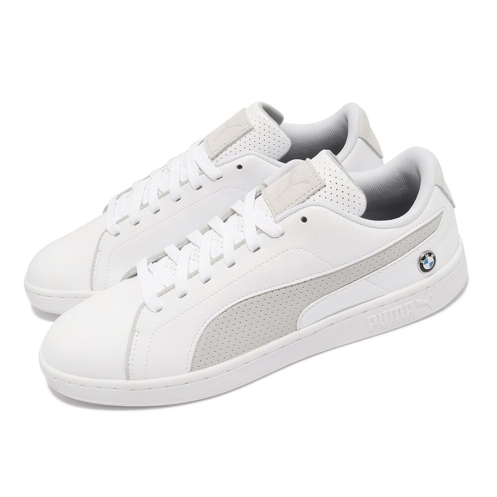 PUMA 休閒鞋 BMW MMS Smash V2 男鞋 海外限定 人造皮革鞋面 板鞋 穿搭 白 灰 [30645002]