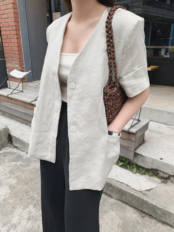 韓國空運 - V linen jacket 夾克