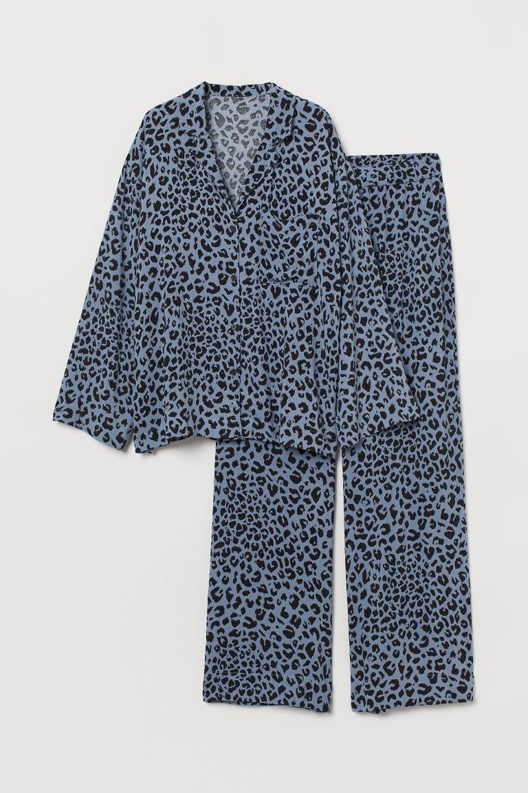 H & M - 配襯衫睡衣套裝 - 藍色