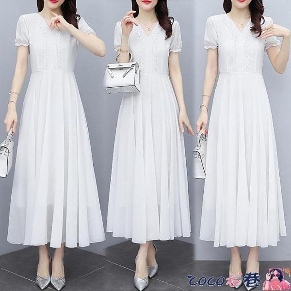 熱賣蕾絲洋裝 白色短袖打底連身裙女2021新款夏季雪紡超仙氣質大擺長裙蕾絲裙子 coco