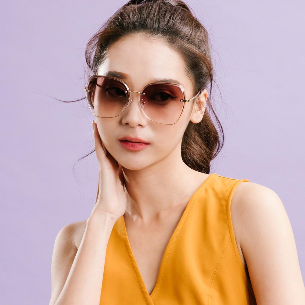 ALEGANT韓系大框顯小臉亮啡棕鑲嵌金框造型墨鏡│UV400太陽眼鏡│金絲的乘風之汐