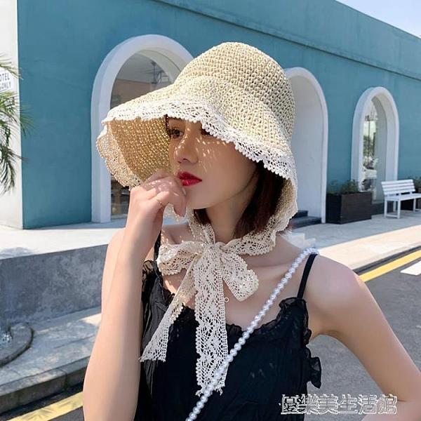 帽子女夏季新款2020網紅蕾絲系帶草帽2021春秋時尚沙灘防曬遮陽帽