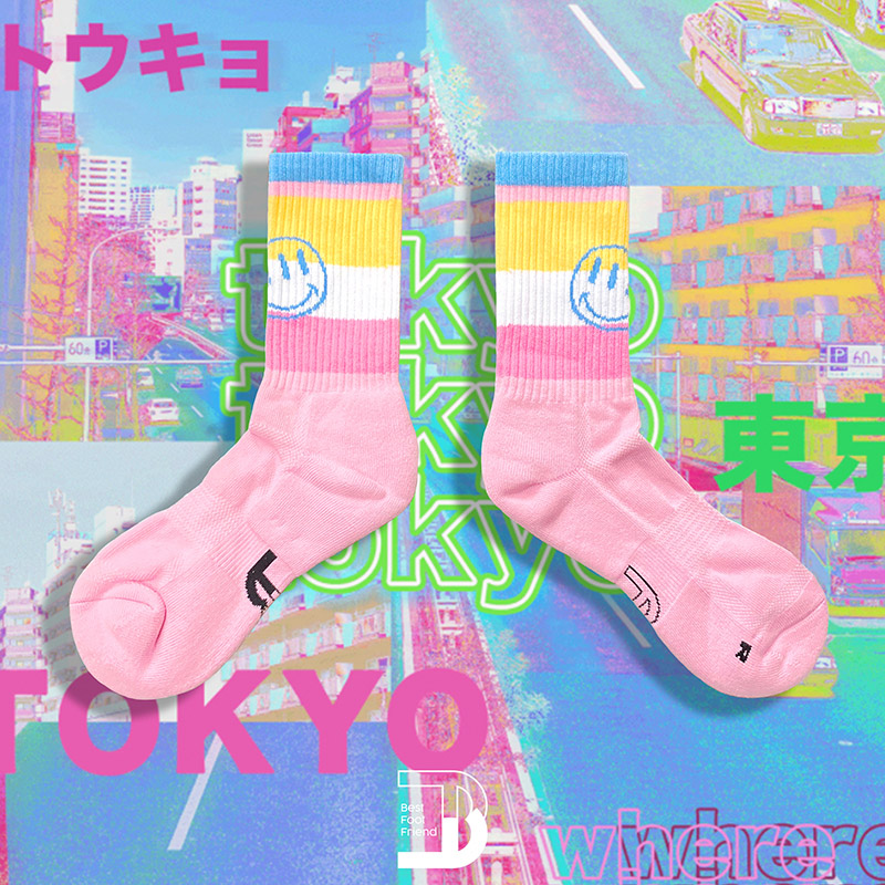 BEST FOOT FRIEND - BF200035-PK 條紋笑臉撞色 BFF 中筒襪 / 小腿襪 (粉色)