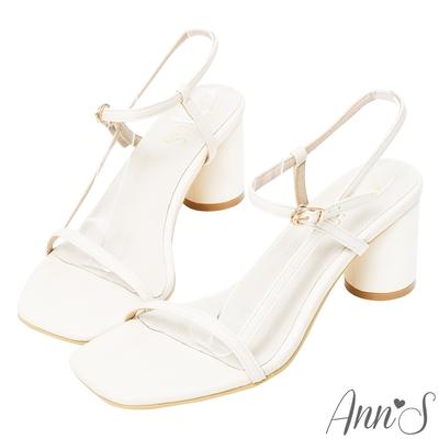 Ann'S氣質品味-側面細帶方頭圓柱粗跟涼鞋-米白