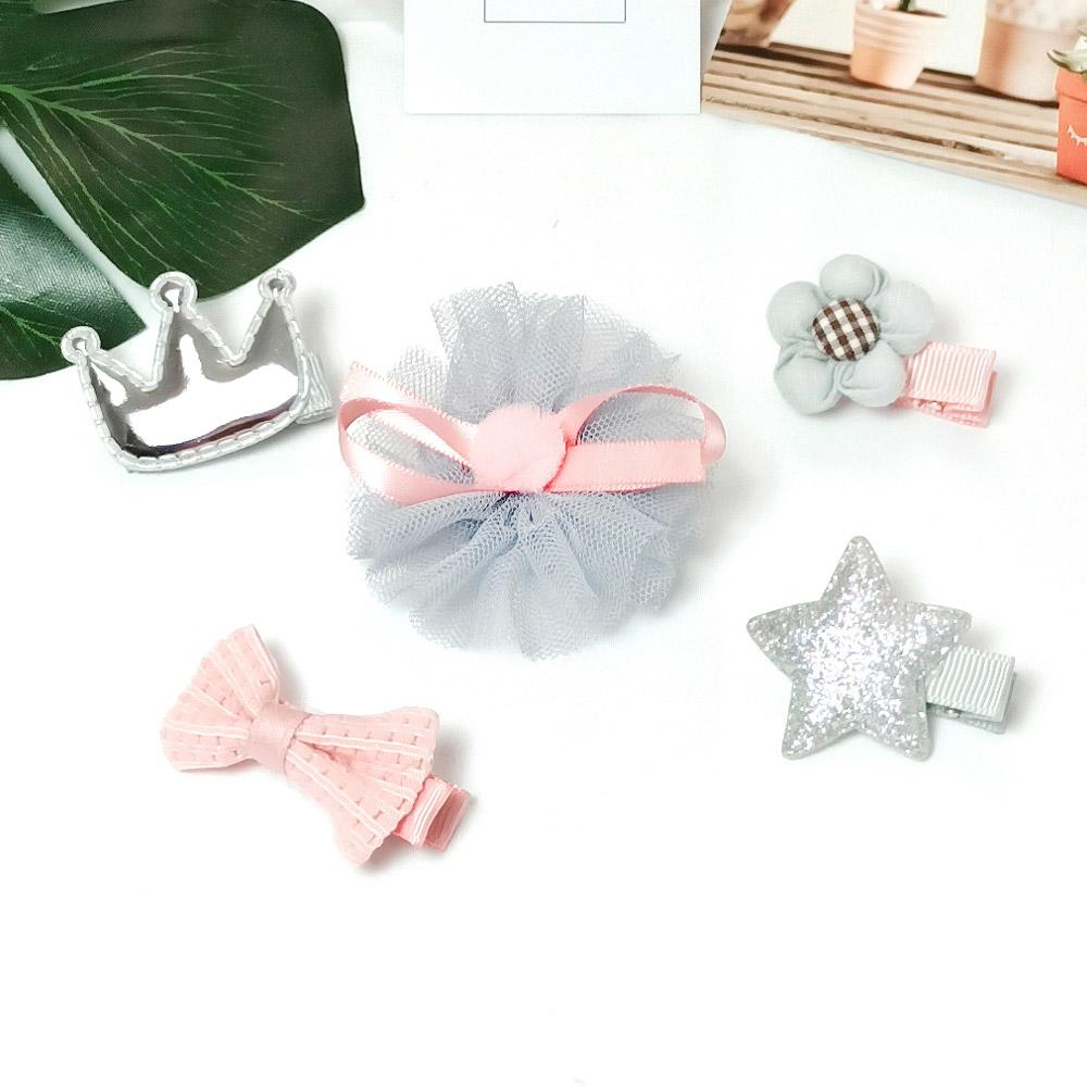 韓系安全髮夾 禮盒五件組 保護寶貝細嫩肌膚 銀皇冠花朵【CH003A2217】