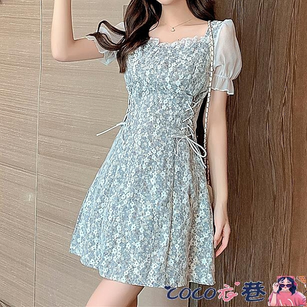 熱賣蕾絲洋裝 2021夏季新款法式茶歇短袖收腰小個子氣質蕾絲連身裙雪紡碎花裙子 coco