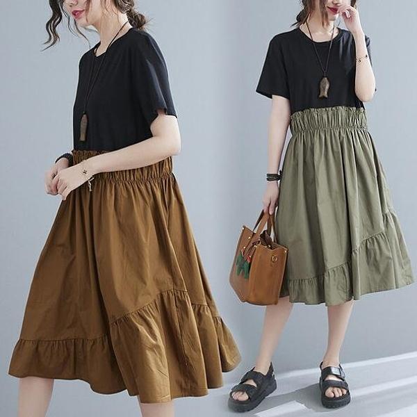 洋裝連身裙M-L新款寬鬆撞色拼接假兩件中長款褶皺收腰短袖連衣裙MB103B-3235.皇潮天下