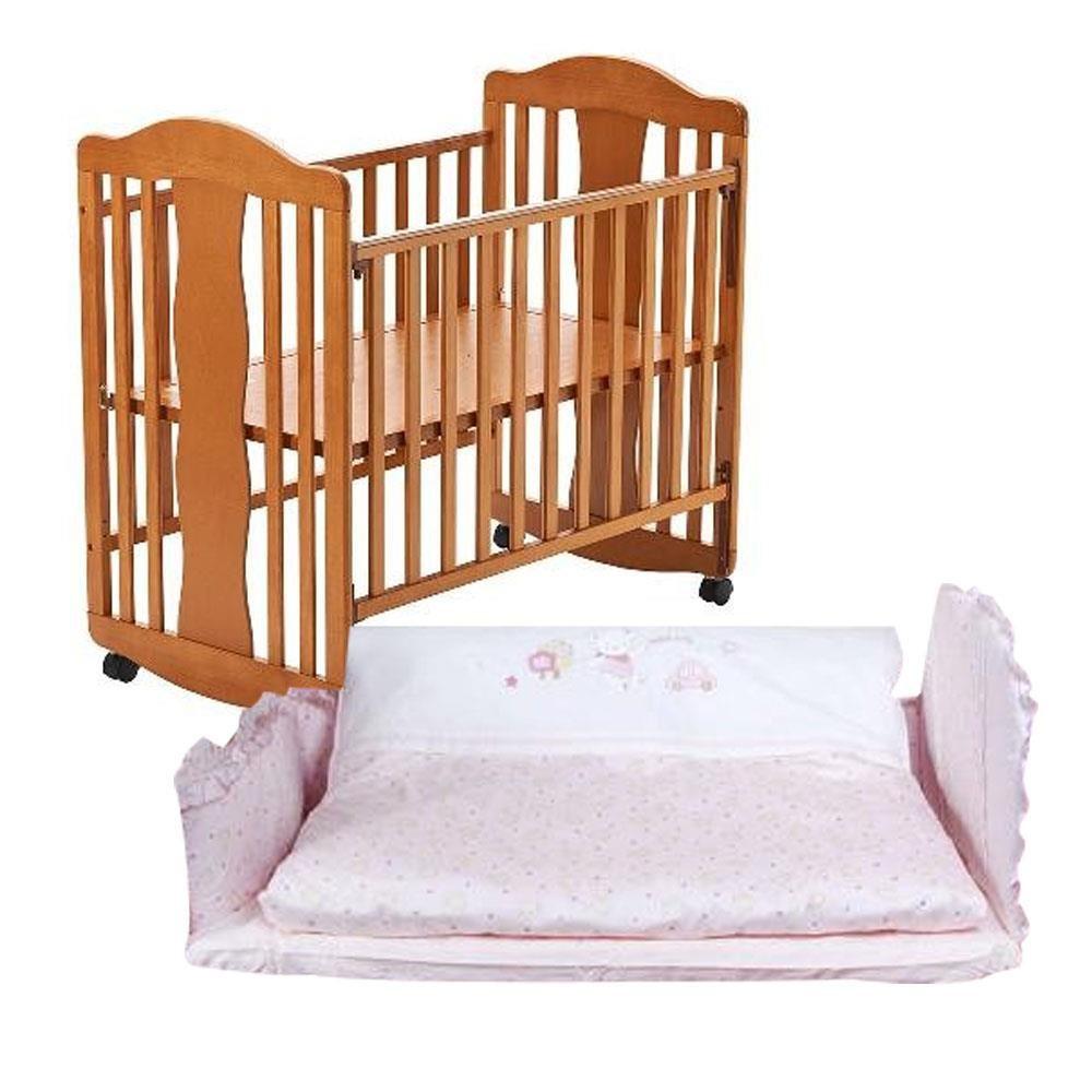 娃娃城 Baby City 幸福天使搖擺嬰兒床-小床(咖啡)+寶貝熊六件寢具組-M(粉)[免運費]