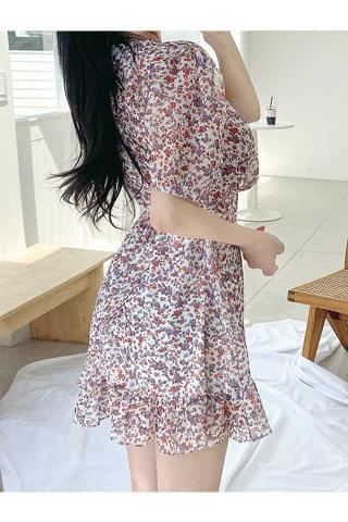 韓國空運 - I only like you rap frill flower Dress 迷你短洋裝