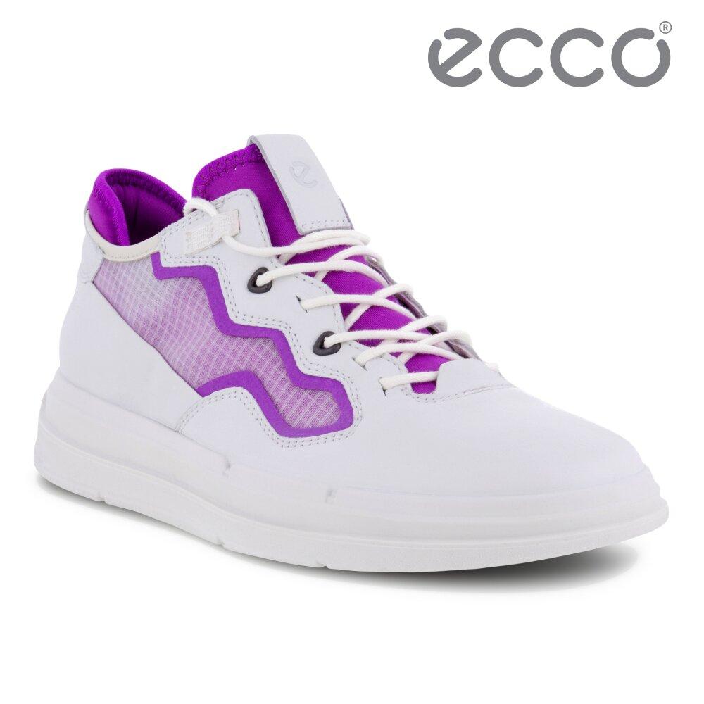 ECCO SOFT X W 純色亮眼網面拼接休閒鞋 女鞋(白色/霓虹紫 42045351287)