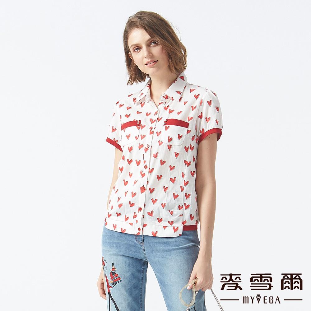 【麥雪爾】純棉紅心皇后雙口袋襯衫-紅