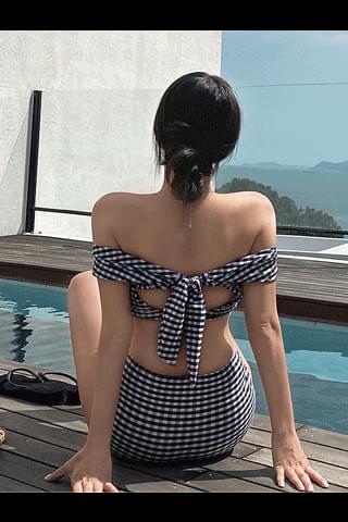 韓國空運 - True check bikini 泳裝