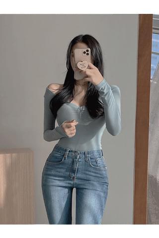 韓國空運 - Shearing Yang V-Neck T-shirt on my body 長袖上衣