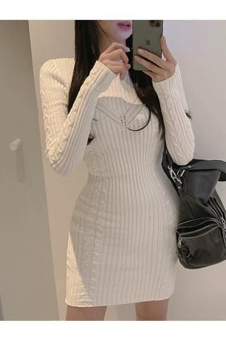 韓國空運 - Innocent Glam Fit Ribbed Dress 迷你短洋裝