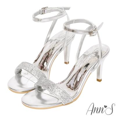Ann'S最閃打光版-亮片一字帶電鍍細跟涼鞋8cm-銀