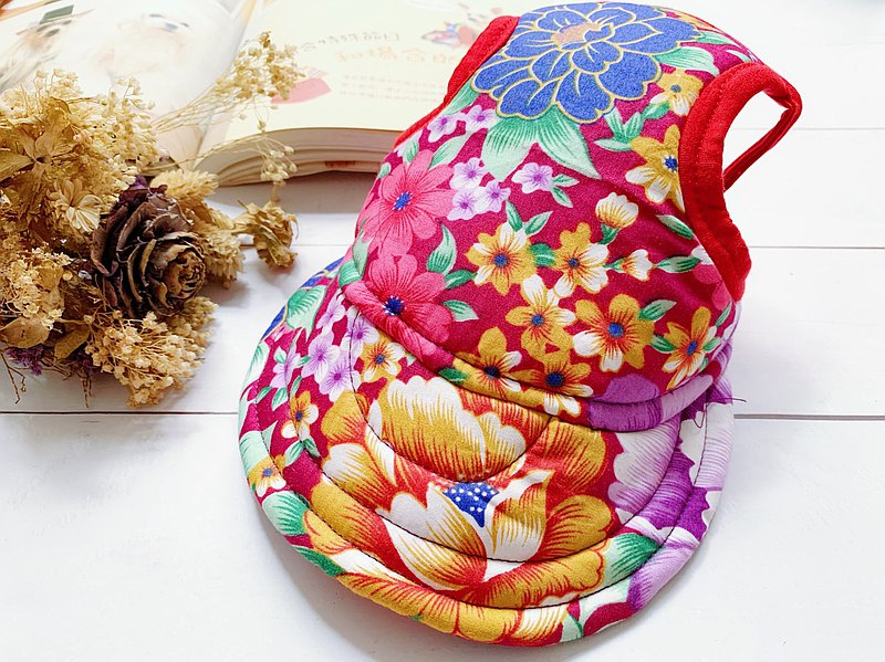 紫紅大花 翻帽遮陽帽XL