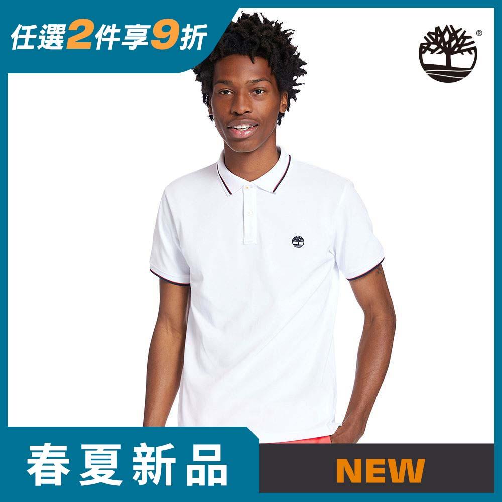 Timberland 男款白色刺繡LOGO有機棉短袖POLO衫|A2EH3100