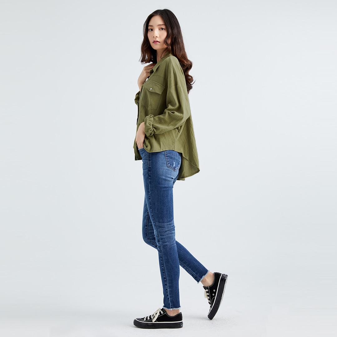 簡約率性抓皺寬鬆襯衫(淡綠色)-女