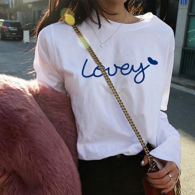 【萬薇】 韓版寬鬆學生百搭字母印花長袖T恤女白色上衣打底衫
